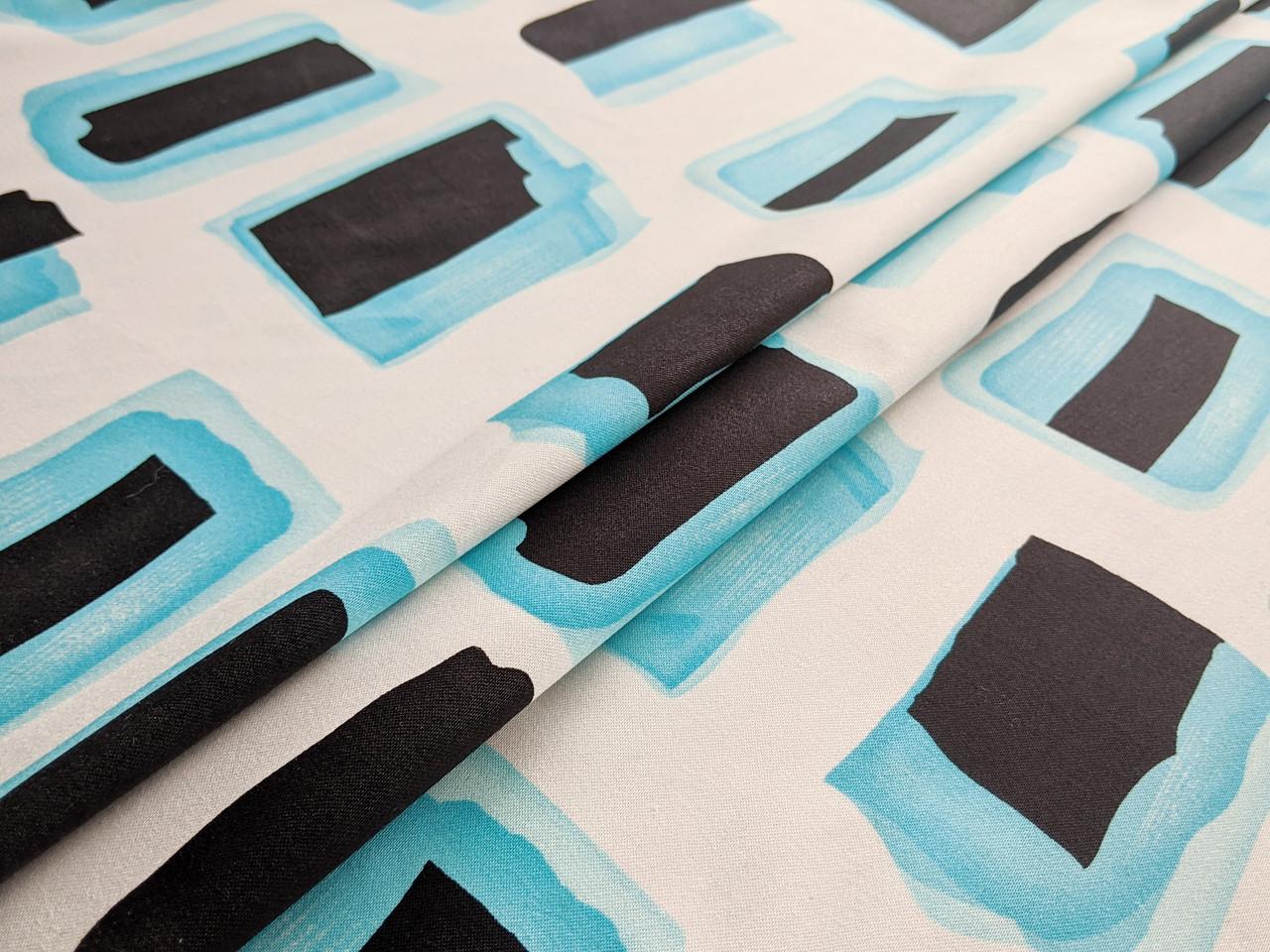 Стрейч коттон принт геометрический, голубой с черным