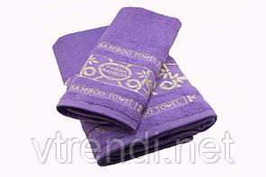 Набор махровых полотенец Parisa Бамбук хлопковые 50х90, 70х140 фиолетовый SKL53-239722