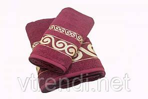 Набор махровых полотенец Parisa Касабланка хлопковые 50х90, 70х140 бордовый SKL53-239723