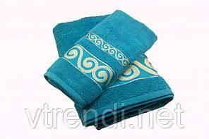 Набор махровых полотенец Parisa Касабланка хлопковые 50х90, 70х140 голубой SKL53-240106
