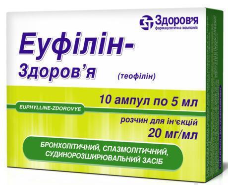 Эуфиллин-здоровья 2% раствор 5 мл ампулы №10