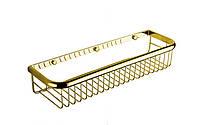 Полка для ванной комнаты корзина 2, золото