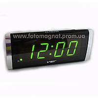 Часы сетевые VST 730-2 зеленые настольные (электронные цифровые часы)