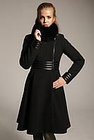 Женское зимнее кашемировое пальто Z-23 с воротником из меха песца