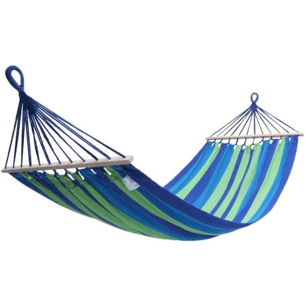 Тканевый гамак с деревянной перекладиной подвесной для туризма и дачи STENSON 200х100 см зелено-голубой