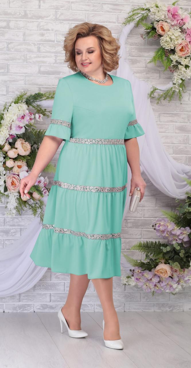 Платье Ninele-2255/1 белорусский трикотаж, светло-зеленый, 56