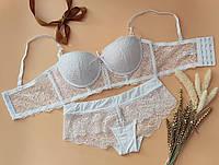 Кружевное нижнее женское белье, бюст пуш-ап Анжелика размер 75В , белый цвет