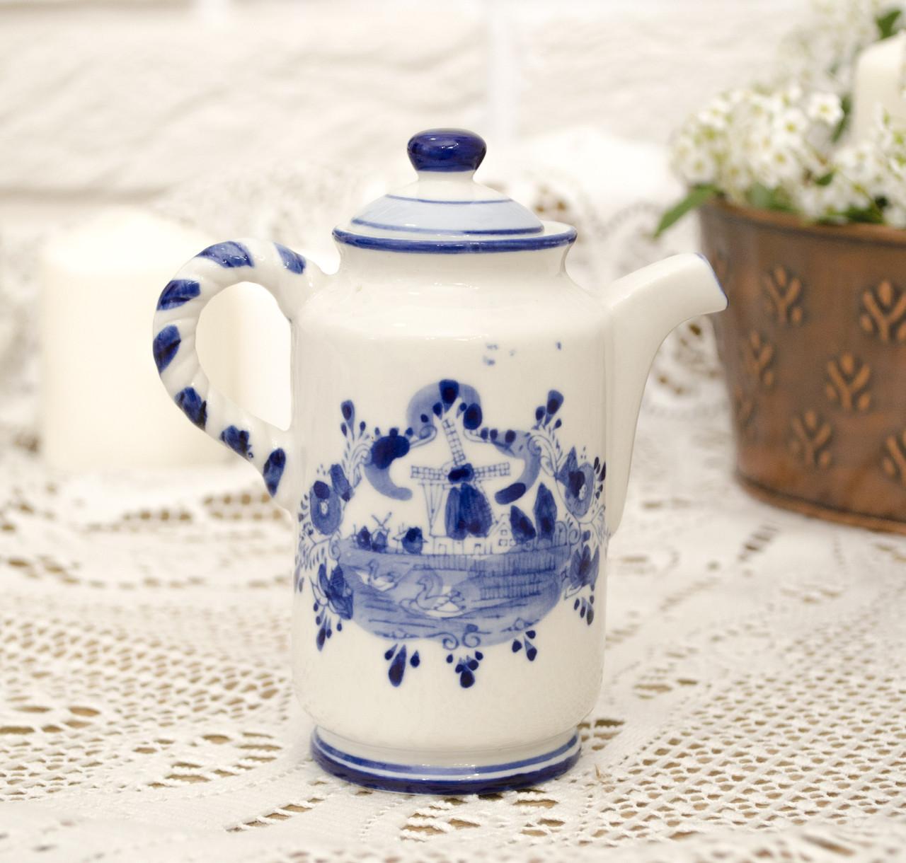 Фарфоровый чайничек с крышкой, Делфт, ручная роспись, Делфтский фарфор, Голландия