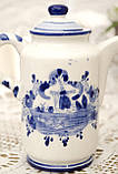 Фарфоровый чайничек с крышкой, Делфт, ручная роспись, Делфтский фарфор, Голландия, фото 5