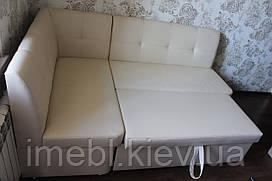 Кухонный мягкий уголок со спальным местом и ящиком (Белый кожзам)