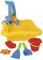 Набор для песка и воды с мельницей 7 элементов жовтый в сетке - 39698