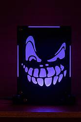 Декоративный настольный ночник Маска Злая ухмылка, теневой светильник, несколько подсветок (на пульте)