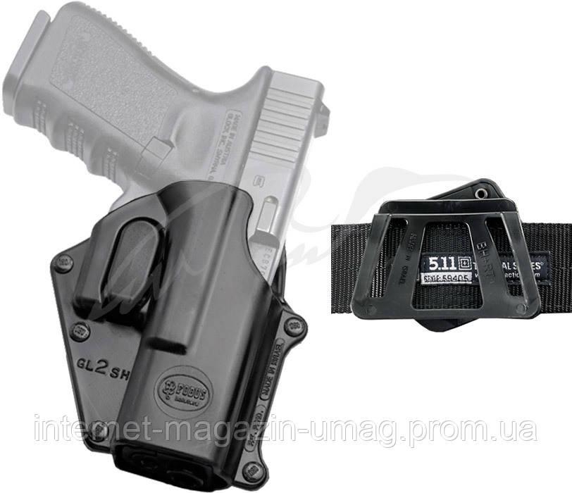 Кобура Fobus для Glock 17,19 с креплением на ремень, поворотная, замок на скобе ц:black