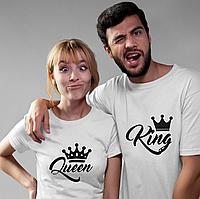 Парные футболки. Футболки для влюбленных. Queen King. Король и королева