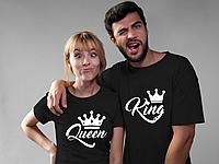 Парные футболки. Футболки для влюбленных. King Queen. Король и королева