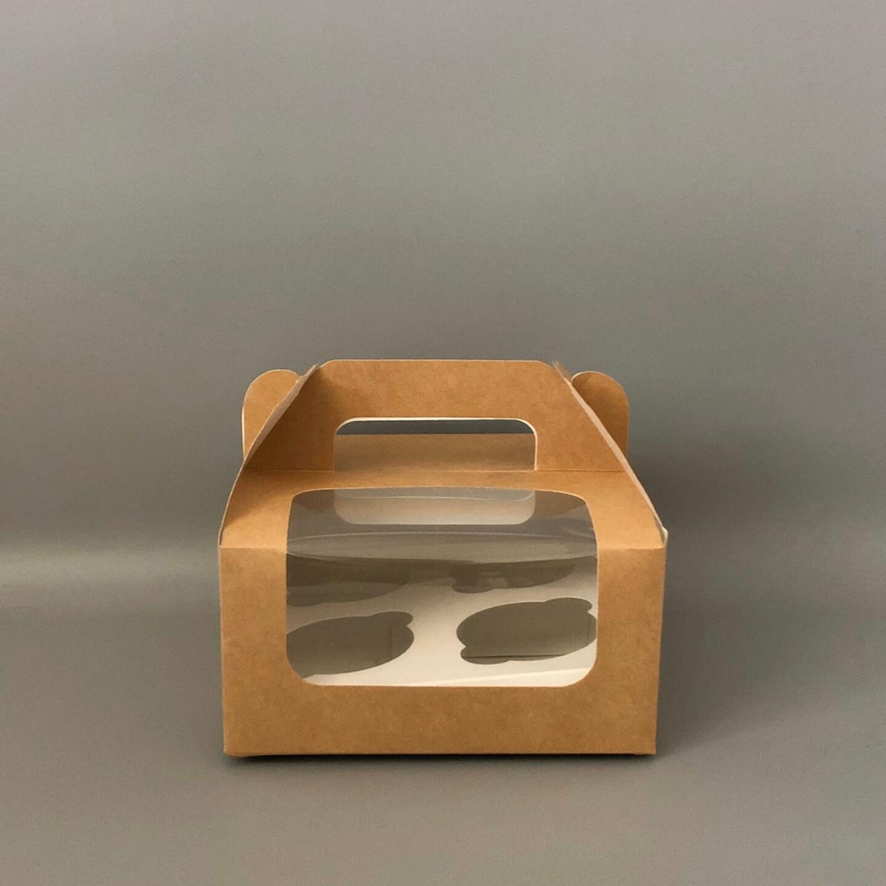 """Коробка для 4 кексів, капкейків 170х170х85 мм (з вікном) крафт """"варіант 3"""""""