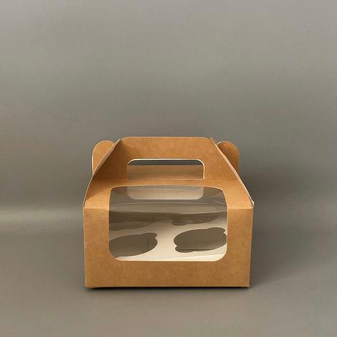 """Коробка для 4 кексів, капкейків 170х170х85 мм (з вікном) крафт """"варіант 3"""", фото 2"""