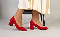 Женские замшевые туфли-лодочки на каблуке, красные, код FS-7404-1