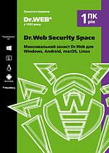 Dr. Web Security Space 1 ПК 12 месяцев продление электронная лицензия