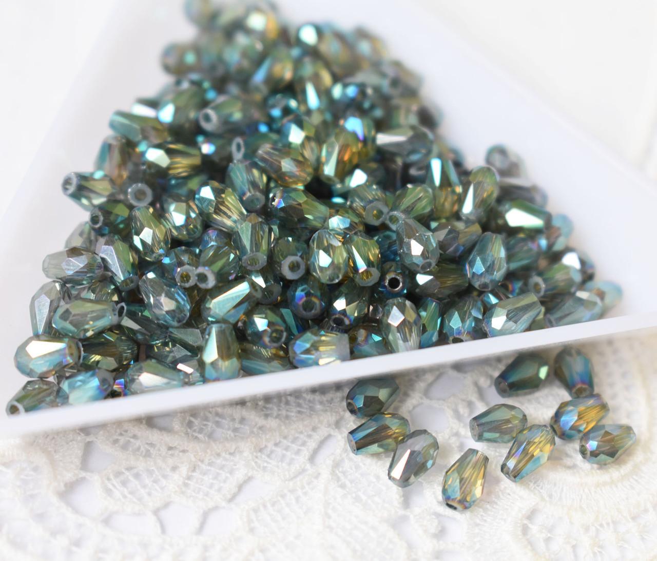 Бусина Капля 5х3мм, 20 шт, стекло, серо-зелено-голубой