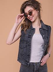 Женская джинсовая жилетка с рисунком на спине, серая, р.S,M,L,XL