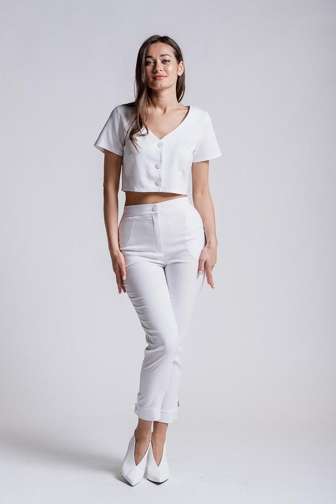 Женские укороченные брюки, размер S (Белый)