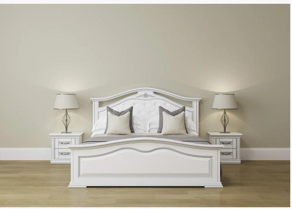 Кровать двухспальная из массива дерева с мягким изголовьем- Маргаритта  (белая)