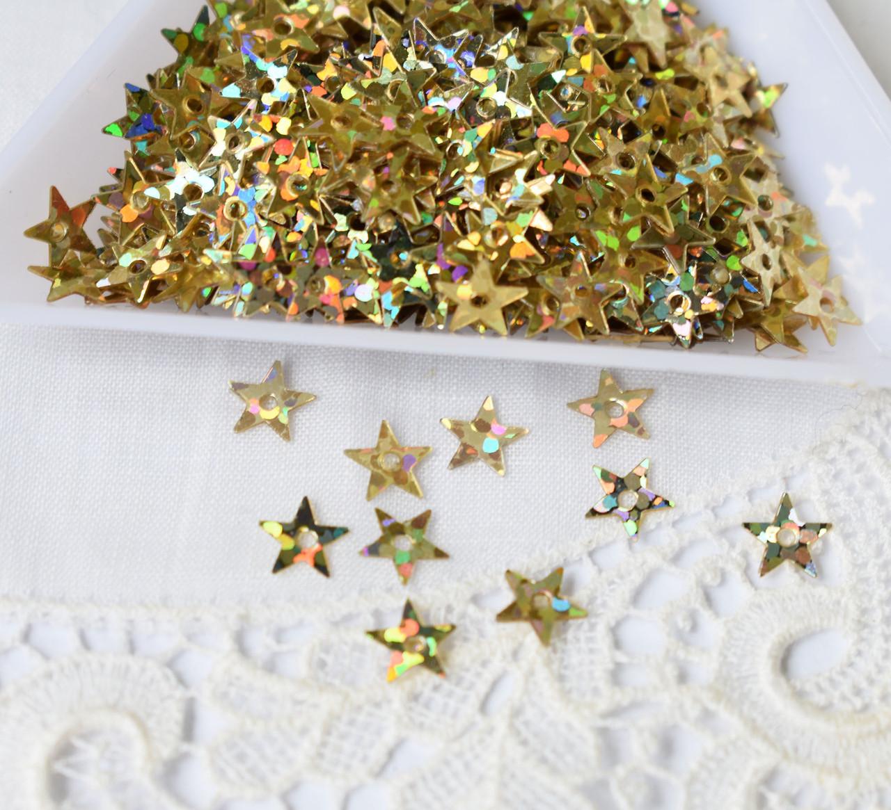 Пайетки звезда 6 мм, золотистые, 3 грамма