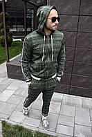 """Мужской спортивный костюм в клетку в стиле """"Джентельмены"""" зеленый с капюшоном"""