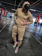 Спортивный мужской костюм с капюшоном, бежевый, код SM-oc3