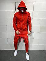 Спортивный мужской костюм с капюшоном, красный, код SM-5114 red