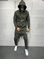 Спортивный мужской костюм с капюшоном, хаки, код SM-5114 green