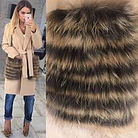 Пальто с меховыми карманами из енота, фото 1