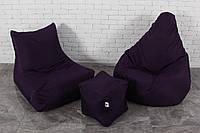 Темно-фиолетовый набор мягкой мебели (Кресло мешок груша пуф)