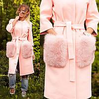 Пальто с яркими меховыми карманами из песца 10607, фото 1