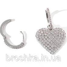 Серьги кольца с белым сердцем асимметрия бижутерия