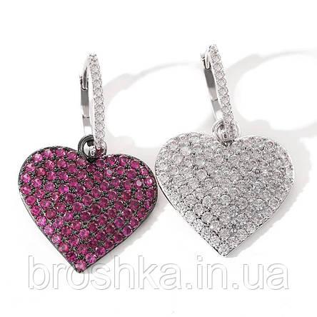 Серьги кольца с белым сердцем асимметрия бижутерия, фото 2