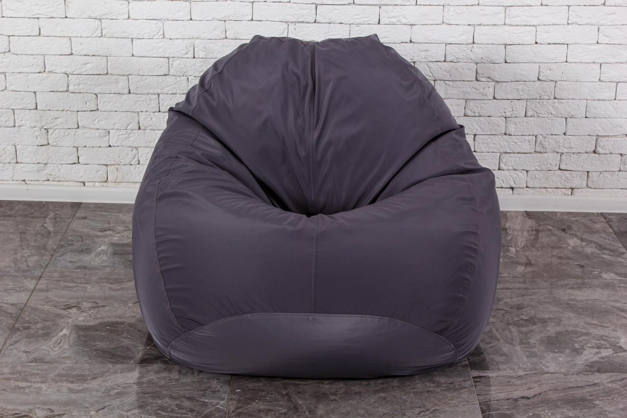 Серое Бескаркасное Кресло мешок груша XXL 130х160