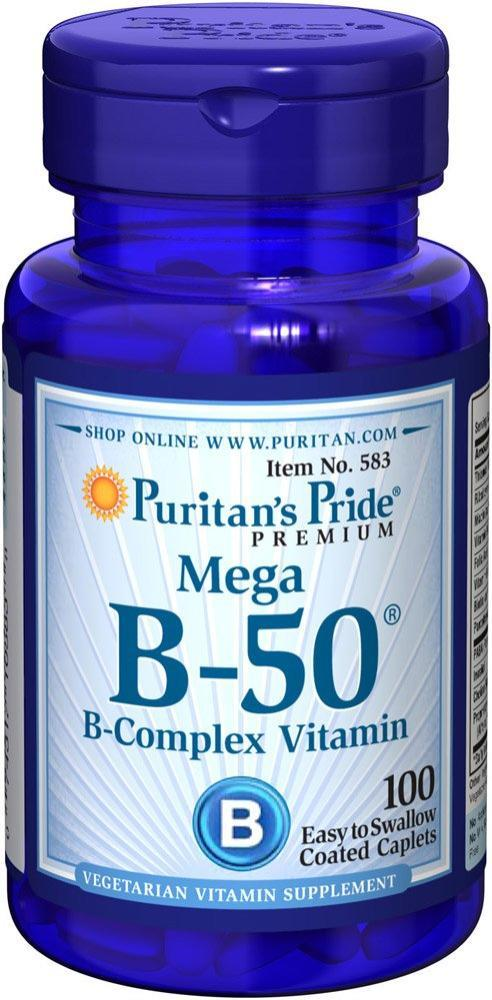 Комплекс витаминов Puritan's Pride - Mega B-50 B-Complex (100 капсул)