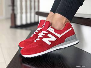 Женские (подростковые) кроссовки New Balance 574, красные с белым, фото 2