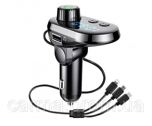 Автомобильный FM трансмиттер модулятор Q15 Bluetooth Черный