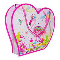 """Блокнот в подарочной сумочке с зеркалом """"Фламинго розовый"""" 56 листов, Malevaro"""