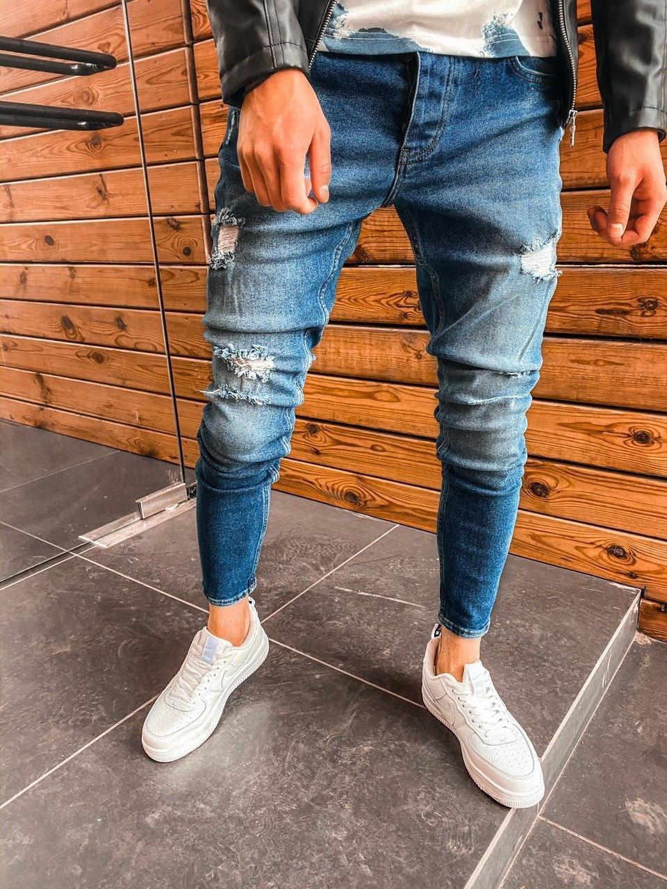 Джинсы - мужские синие джинсы на лето с рваными и потертые