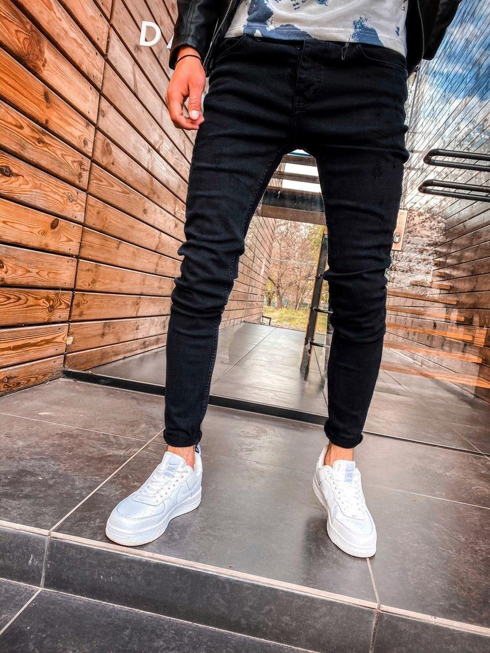 Джинси - чоловічі темно-сірі потерті джинси