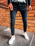 Джинси - чоловічі темно-сірі потерті джинси, фото 2