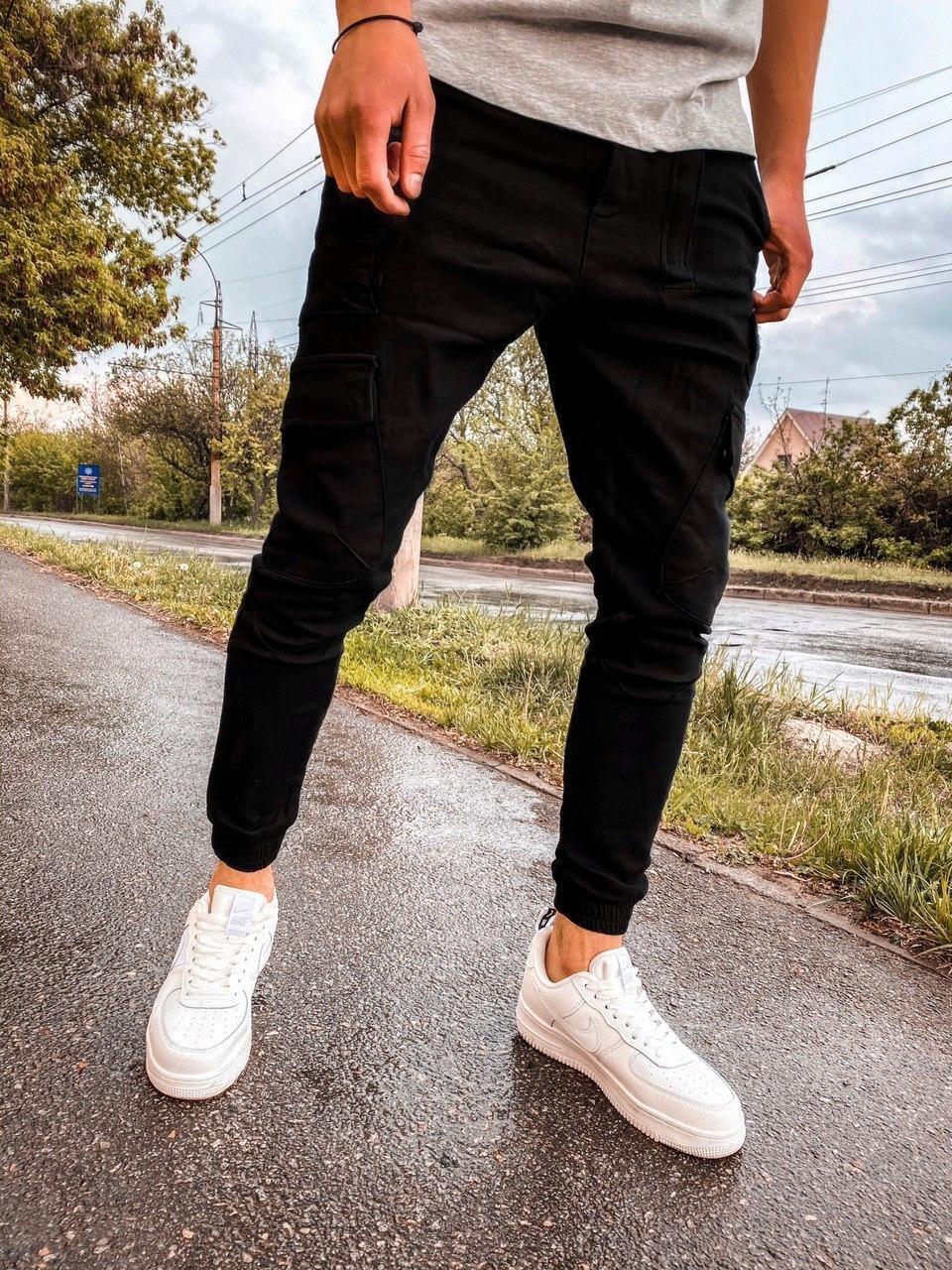 Джинсы - мужские черные джинсы джогеры