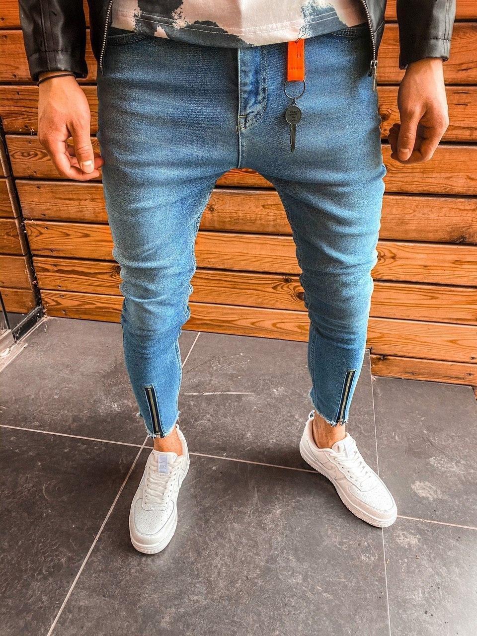 Джинсы - мужские синие джинсы с молниями ниже колена