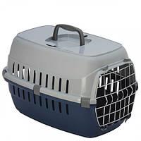 Переноска Moderna для собак и кошек, с металлической дверью, пластик, голубая, 48.5×32.3×30 см
