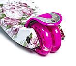 Самокат трехколесный детский Maxi Flowers. Roses. с светящиеся колеса, фото 3