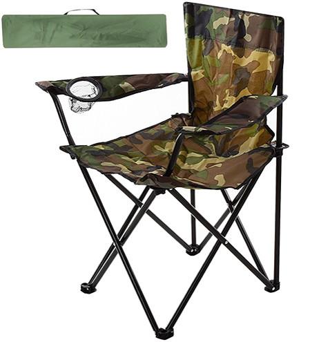 Туристичне розкладне крісло з підсклянником для пікніка та риболовлі до 100 кг Павук 50х50х80 см STENSON камуфляж